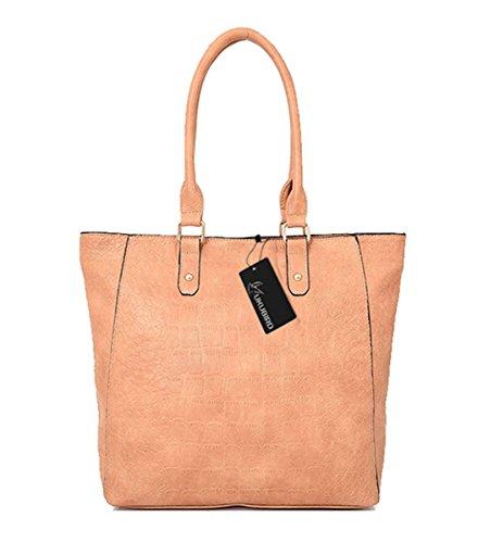 Kukubird Cadeuse Qualità Mock-Croc Cuoio Design Top-manico Spalla Tote Handbag Beige