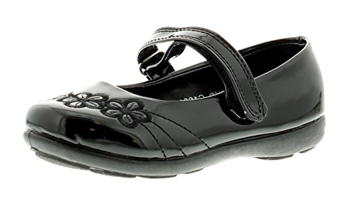 85f3e322bb21 New Girls Synthetic Leather Black School Shoes With Touch Fastening - Black  Patent - UK Size 12. by princess stardust