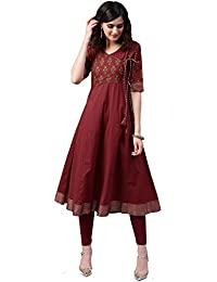 Amayra Women's Cotton Maroon & Green Printed Anarkali Kurti