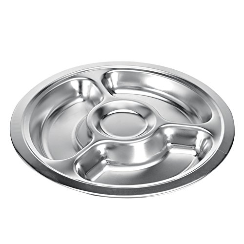 Edelstahl Rund geteilten Speiseteller, BPA-frei Kinder Teller Serviertablett Speisen Servierplatte für Kinder Kleinkinder, edelstahl, silber, 4-sections