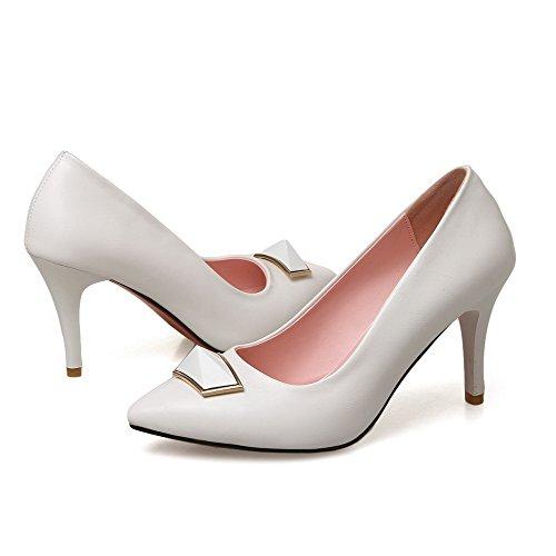 Chaussures Femme PU Couleur Haut Tire Blanc Cuir à Légeres VogueZone009 Pointu Unie Talon FYvwxxq