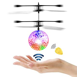Diswoe Flying Ball Crystal Flashing LED RC Toy infrared Induction Helicopter for Kids Classic Transparent with Remote Control