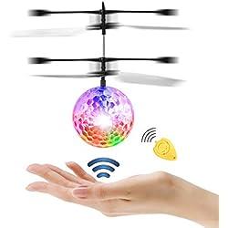 Diswoe Pelota voladora Flying Ball Crystal Intermitente LED RC Juguete de inducción infrarroja Helicóptero para niños Classic Transparente con Control Remoto