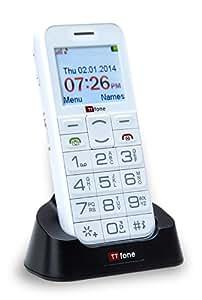 TTfone Saturn Bluetooth Senior Mobile Phone Easy Basic Simple Big Button Phone Camera Sim Free White