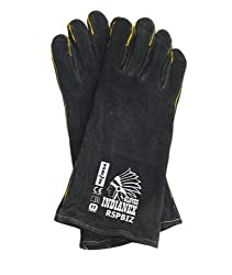 WOOD BURNING STOVE/WELDING GLOVES - BLACK- 100% GENUINE LEATHER BBQ STOVE ACCESSORIES Welders Gauntlet