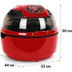 Klarstein VitAir - Freidora de aire caliente , Freidora sin aceite , Asar , Cocer , Placa Halógena , Antiadherente , Capacidad 9L , Potencia 1400W , Programas automáticos , Pantalla LCD , Rojo