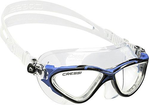 Cressi planet premium occhialini per nuoto, piscina, triathlon e sport acquatici, unisex – adulto, trasparente/blu nero