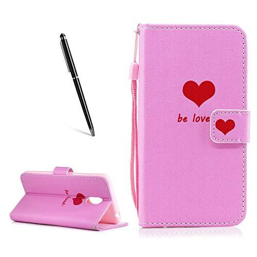 OnlyCase Meizu Pro 6 Plus Hülle Handyhülle Schutzhülle, Flip PU Leder Fall gemaltes Muster Case magnetischen Verschluss Ständer Kartenhalter, Herz