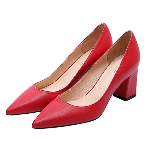 Damen Pumps Spitz Zehen Slip On Niedrige Leichtgewicht Weich Anti-Rutsche High Blockabsatz Lässig Arbeitsschuhe Rot