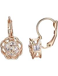 Jade Angel 18ct Rose Gold Synthetic Topaz Heart Shape Stud Earrings Women Jewellery