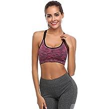 Hawiton Sujetadores Deportivos Mujer Espalda Sujetador Deporte Mujer con Relleno Gimnasio Yoga Fitness Ejercicio, Pack