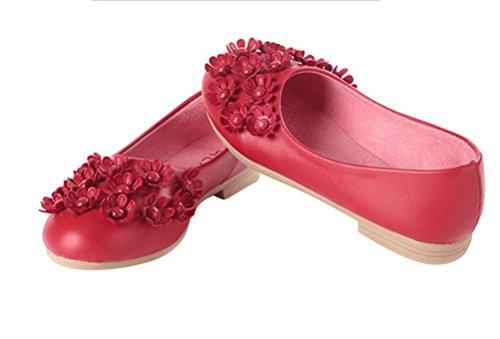 Brinny Mode Mädchen Ballerina Halbschuhe kleine Blumen Erbsenschuhe weichen Sohlen Prinzessin Partei Schuhe Rot