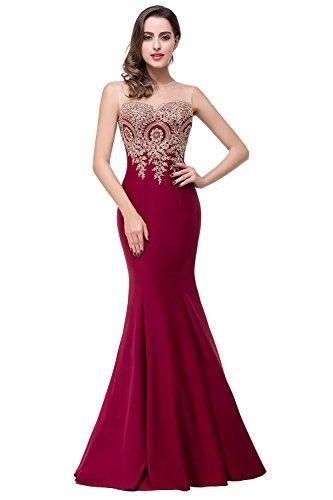 Babyonlinedress Vestido largo de boda para mujer largo y ajustado estilo de gala y elegante A line estilo sirena