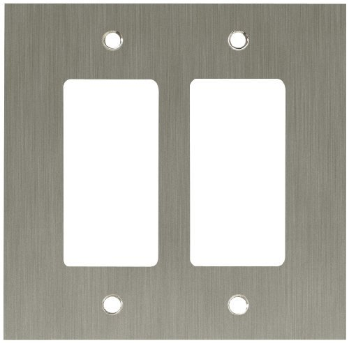 Franklin Brass Concave 2-Gang Double Decorator / Rocker / GFCI Device Wall Switch Plate Cover, Satin Nickel by Franklin Brass - 2 Rocker Wall Plate