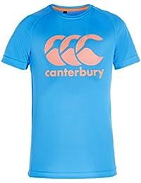 Canterbury Boys' Vapodri Poly Logo T-Shirt-Malibu Blue/White/Firecracker, Size 8