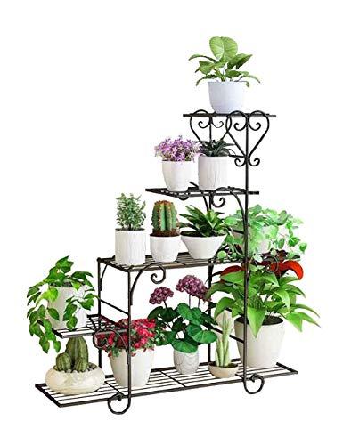 supporto per fiori in metallo a 5 strati, fiori per scaffalature, balcone del soggiorno in vaso, supporto per piante a prova di ruggine in ferro battuto, ripiano per fioriera (colore: nero, misura: l8