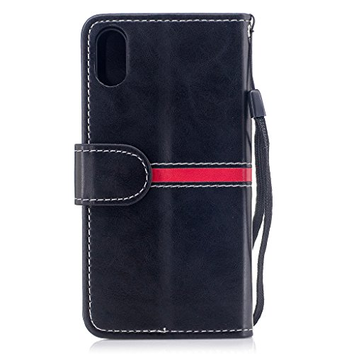 Per iPhone X Cover , YIGA elegante nero Retro Modello Design Con Book style Internamente Silicone TPU Cover Flip Funzionalità di Supporto cuoio Case in Premium pelle Protettiva Flip Custodia per Apple dy-black