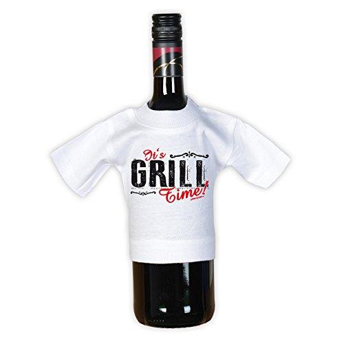Griller T-Shirt Die Macht über den Grill BBQ Shirt geil bedruckt Geschenk Set mit Mini Flaschenshirt Schwarz