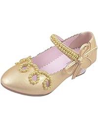 Zhuhaitf Alta calidad Fashion Kids Girls Simple Breathable Non-slip Beaded Princess Single Shoes High Heels