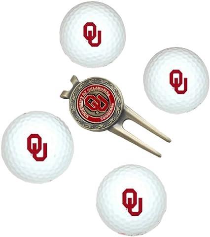 Team Golf 24406 Oklahoma Sooners Pack of 4 Golf Balls and Divet Tool Gift Set