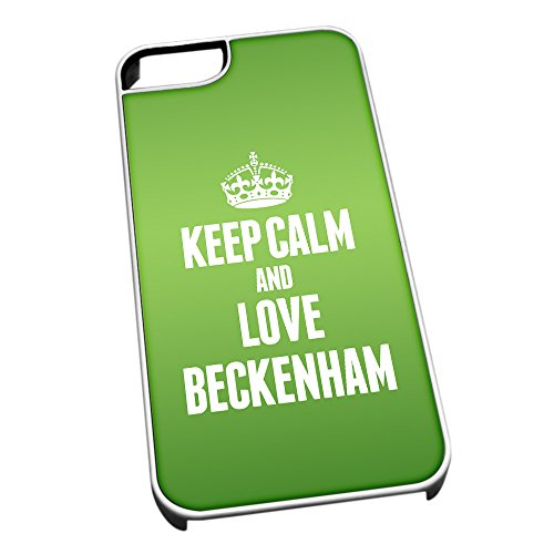 Duke Gifts Bianco Cover per iPhone 5/5S 0053 Verde Keep Calm And Love Beckenham