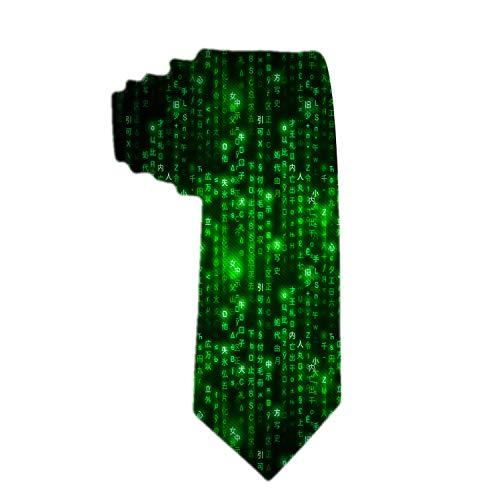 SARA NELL Herren Klassische gewebte Krawatte Seide Krawatte Grün Matrix Symbole Digital Binary Code On Dark Neck Tie