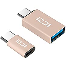 ICZI USB C a Micro USB Adattatore(1 Pz) + USB C a USB 3.0 Adattatore(1 Pz) in Alluminio, per Samsung Galaxy S8/S8+, Macbook Pro, Nexus 5X/6P, Huawei P9/P10/P9 Plus/P10 Plus/Mate 9, LG G5/G6, Honor 8, Asus ZenFone 3, One Plus 2/3/3T, Nintendo Switch e Altri (Oro)