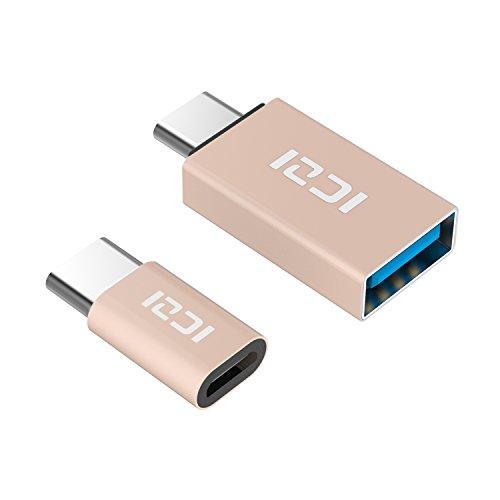 ICZI USB C a Micro USB Adattatore(1 Pz) + USB C a USB 3.0 Adattatore(1 Pz), in Alluminio, per Macbook Pro, Nexus 5X/6P, Huawei P9/P9 Plus, LG G5, Honor 8, Asus ZenFone 3, One Plus 2/3/3T, Nintendo Switch e Altri (Oro)