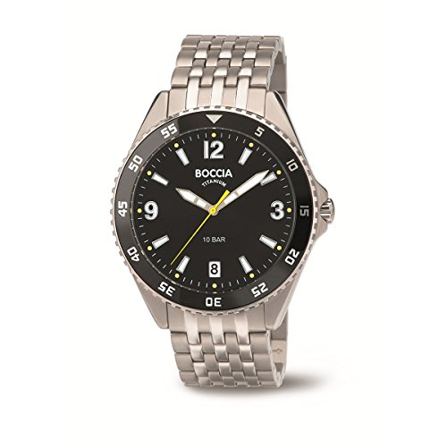 Boccia Herren Digital Quarz Uhr mit Titan Armband 3599-03