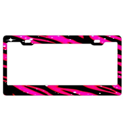 Superlicenseframe Maßgeschneiderte Kfz-Kennzeichenrahmen Abdeckung schwarz mit Abdeckkappen für Auto US Fahrzeuge, Pink Zebra Print (Zebra Kennzeichenhalter)