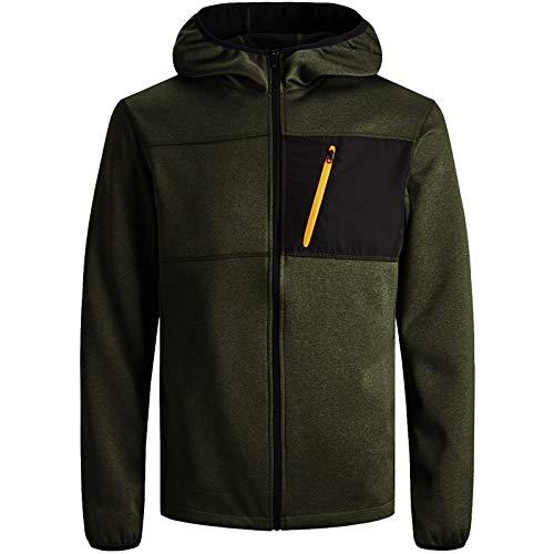 JACK & JONES Herren Fleece Jacket Kapuzenpullover Hoodie Sweatjacke Sona Core Sweatshirt Sweat Hood S M L XL XXL (XL, Grün)
