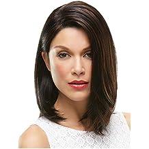 Yemocíle Peluca de pelo sintético de aspecto natural corto de longitud media recta ...