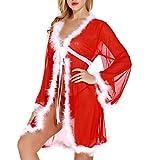 TianWlio Dessous Damen Schlafanzug Unterwäsche Negligees Weihnachten Weihnachtsplüsch Bademantel Dessous Langarm Unterwäsche rot L