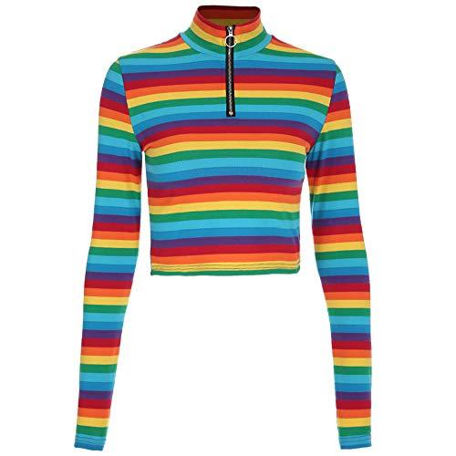 PinkLu Lange ÄRmel Damen Regenbogen-Streifen-T-Shirt Mit ReißVerschluss Slim Fit Einfach Und Bequem FrüHling Und Sommer Neuer HeißEr Farbige Lange ÄRmel - Regenbogen-streifen-shirt
