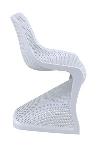 CLP Design Kunststoff-Stuhl BLOOM, XXL Gartenstuhl, Freischwinger Stuhl belastbar bis 160 kg Hellgrau - 3