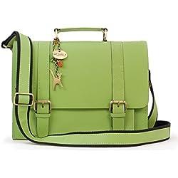 CATWALK COLLECTION - CANTERBURY - Bolso satchel - Cuero - Verde