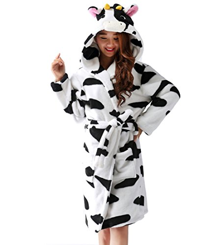 Y&L Erwachsenen-Unisex-Weiche Fleece-Cartoon-Bademäntel mit Kapuze Nachtwäsche Bademäntel Housecoat Kleider mit Gürtel Milch Kuh Groß (Milch Kuh Kostüm)