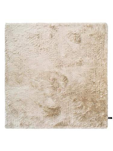 benuta Shaggy Hochflor Teppich Whisper Quadratisch Beige 150x150 cm   Langflor Teppich für Schlafzimmer und Wohnzimmer