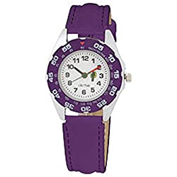 Cactus Children's Quartz Watch with White Dial Analogue Display and Purple Plastic or PU Strap CAC-57-M09
