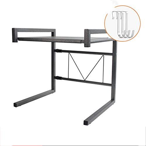 FEI Double support télescopique de stockage de support de cuisine pour des fours à micro-ondes, des fours et des condiments, 43 * 36 * 42 (Couleur : D)