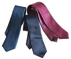WHOLESOME DEAL men's navy blue black and maroon microfiber tie pack of three(wsdtie11)