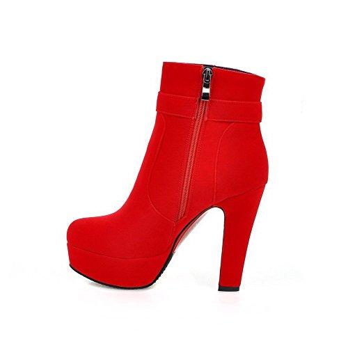 VogueZone009 Damen Hoher Absatz Rund Zehe Mattglasbirne Reißverschluss Stiefel mit Anhänger, Rot, 42