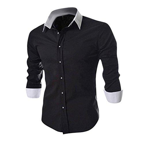jeansian Herren Freizeit Hemden Shirt Tops Mode Langarmshirts Slim Fit 8530 Black