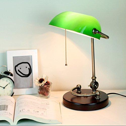 Lampe De Table Lampe de bureau rétro traditionnelle de banquiers de lampe de table avec la lampe LED de cuivre d'ombre de verre vert
