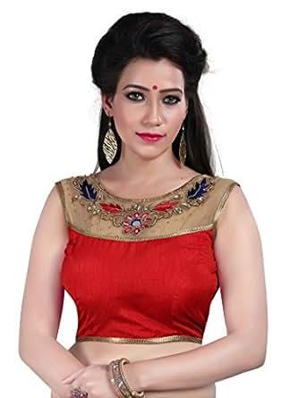 Shreeji Designer Women's Cotton Saree Blouse (V-Rm-H-02-Red-3_Red_Free Size)