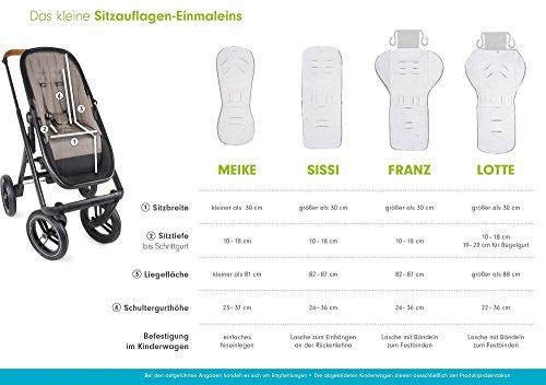 Priebes Sitzauflage Franz für Kinderwagen | Atmungsaktive, antiallergische Sitzauflage | Sommer-Sitzeinlage Universal für Kinderwagen, Buggy | Schonbezug 100% Baumwolle, Design:stars grau