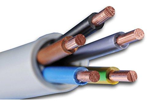 Meterware auf den Meter genau: NYM-J 5x6 mm² - NYM-J 5x6 mm2 - Mantelleitung - Installationsleitung - grau - Auswahl in 1 Meter Schritten - Beispiel: 5 m - 10 m - 15 m - 18 m - 20 m - 25 m - 50 m usw.