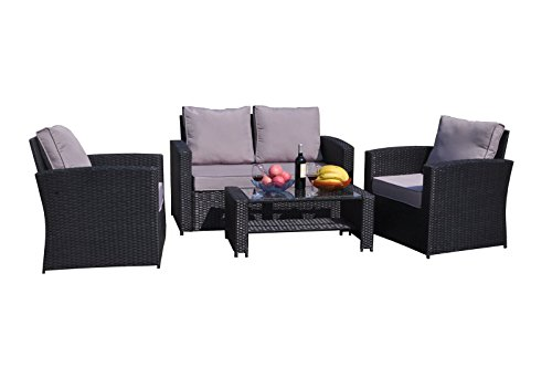 Yakoe 4 Piece Rattan Garden Furniture Sofa Set Table And