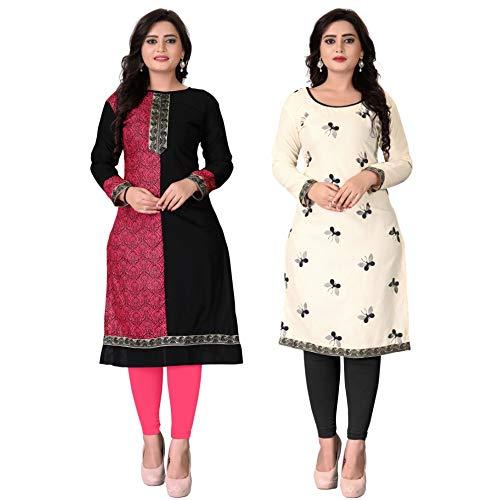Pramukh Fashion Semi Stichead Pack of 2 Kurtis Combo(1015.titli black)