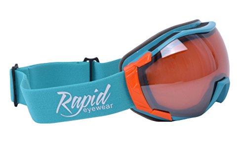 Rapid Eyewear Corbier ÜBER Skibrille Blau Rahmen, Orange doppelverglasung. Für Damen & Herren. Sonnenüberbrille Auch Snowboardbrille & Gletscherbrille